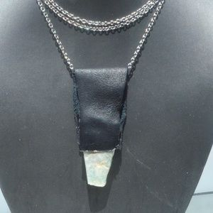 Amazonite Gemstone Leather Silver long Necklace